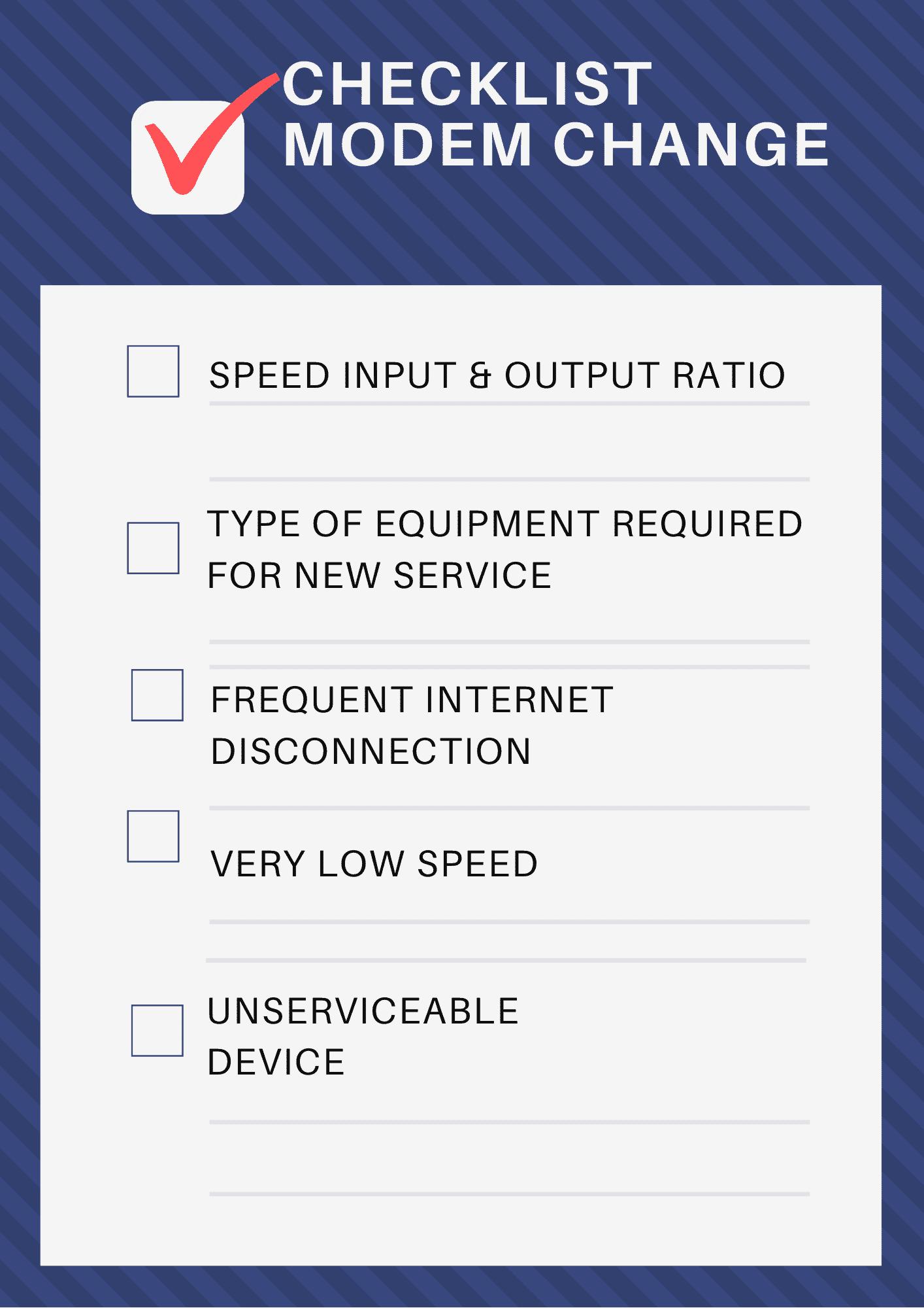 modem replacement checklist