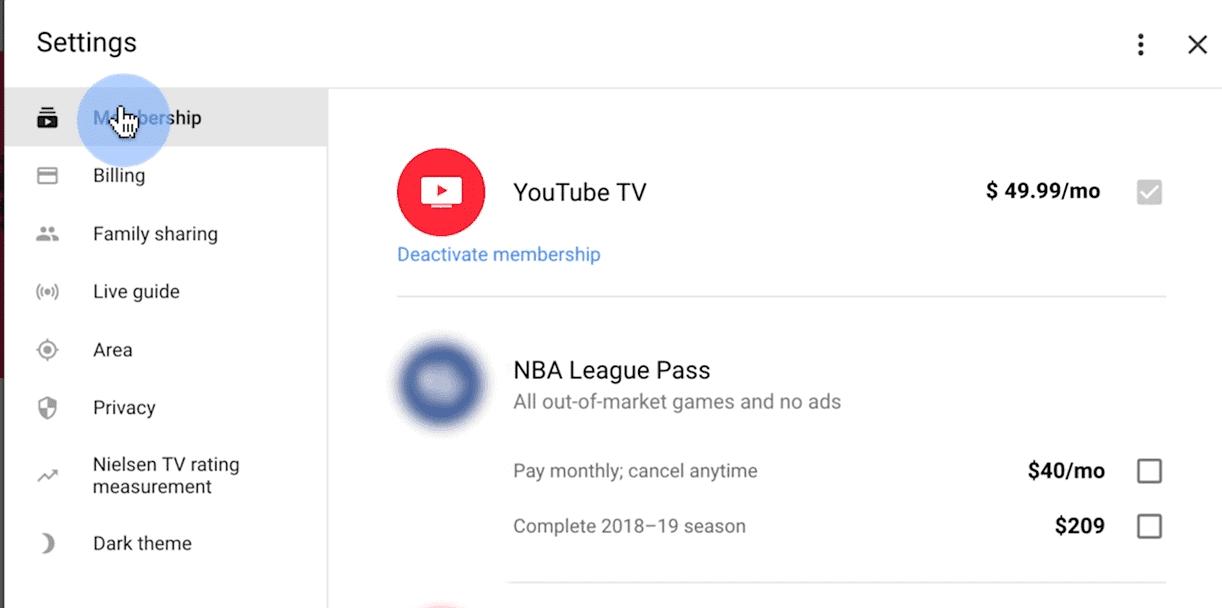 youtube tv membership