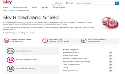 sky broadband shield settings