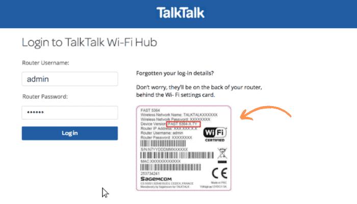 talktalk router login username and password