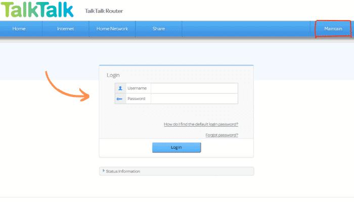 talk talk router login