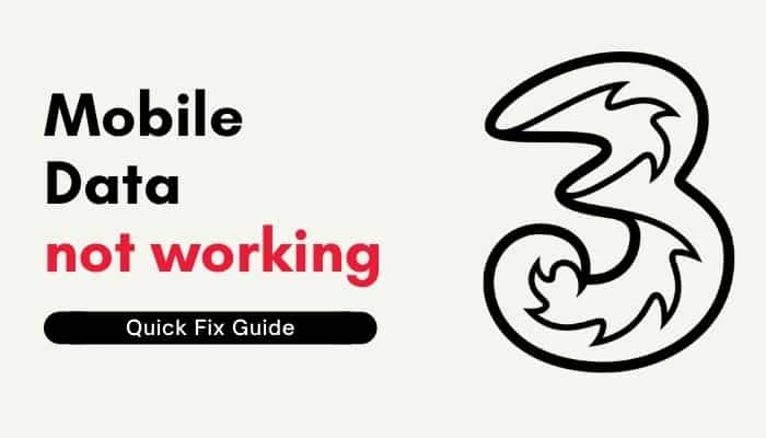 three mobile data not working
